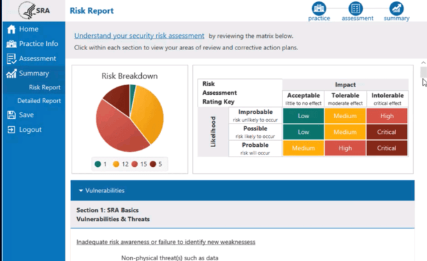 SRA Tool for HIPAA Risk Analysis